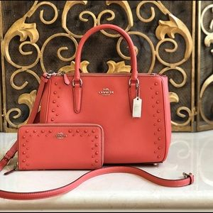 NWT Coach MD studded surry Satchel&wallet Set